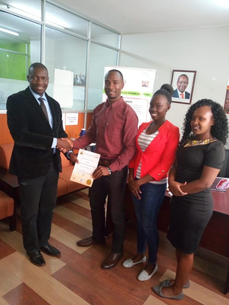 SMILES NUTRITION COLLECT PRIVATE PRACTICE LICENSE FROM KNDI CEO'S OFFICE